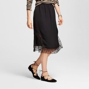 Who What Wear Black Lace Slip Skirt